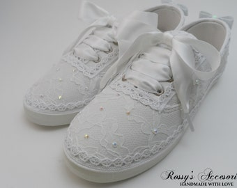 d89d375176a7 Wedding Lace Sneakers AB Pearls and Bow Tennis Shoes   Wedding Sneakers For  bride   Bride Gift   Destination Wedding   Bridal Sneakers