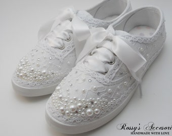 f89e693c411f Wedding Sneakers for Bride Pearls Tennis Shoes  Wedding Lace Sneakers  Wedding  Sneakers  Destination Wedding Prom Sneakers Wedding Reception