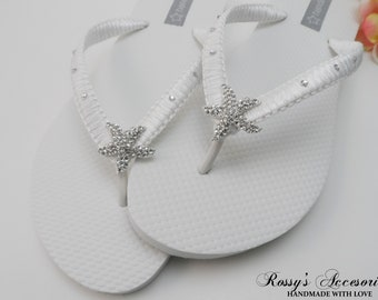 508d04ba8039 White Macrame Flip Flops   Bridal Starfish Rhinestone  Wedding Shoes    Bridesmaids Flip Flops   Beach Wedding Flip Flops   Bride Gift.