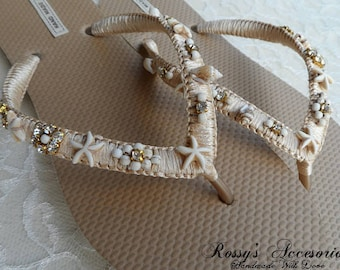 44c33dc2d79f9 Champagne   Gold Beach Flip Flops   Bohemian Style Bridal Flip Flops    Beach Wedding Shoes   Summer Beach Flip Flops   Bridesmaid Shoes.