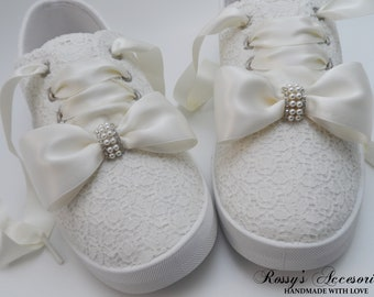 756d5856e303 Wedding Sneakers for Bride   Ivory Bow Tennis Shoes   Ivory Sequin Lace  Sneakers  Wedding Sneakers  Destination Wedding  Gift for Bride