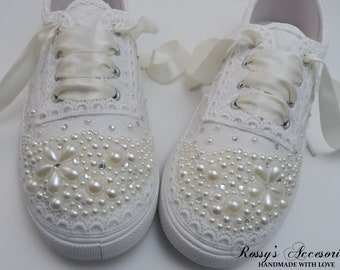 71860eff4f33 Wedding Sneakers for Bride   Flower Pearls and Rhinestones Tennis Shoes   Wedding  Lace Sneakers   Wedding Sneakers   Destination Wedding