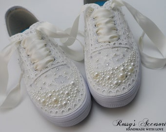 325466889ad4 Wedding Sneakers for Bride   Ivory Pearls and Rhinestones Tennis Shoes    Ivory Sequin Lace Sneakers   Wedding Sneakers   Destination Wedding