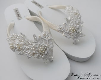 276e8754a Ivory Venice Lace Wedge Flip Flops  Bridal White Flip flops   Bridal Shower  Flip Flops  Bride Gift  Beach wedding Party  Destination Wedding