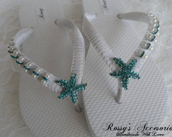 6556c082d9a0 White Wedding Flip Flops   Bridal Pearls Sandals   White Bridesmaid Shoes  Aqua  blue - Teal Color Starfish Rhinestone   Pearls Flip Flops.