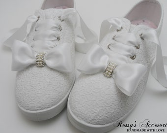 ab74f7567 Wedding Sneakers for Bride White Bow Tennis Shoes White Lace Sneakers  Wedding  Sneakers  Destination Wedding Prom Sneakers Wedding Reception