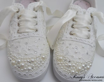 feea782ed2a1 Wedding Sneakers for Bride   Pearls and Rhinestones Tennis Shoes   Wedding  Ivory Lace Sneakers   Wedding Sneakers   Destination Wedding