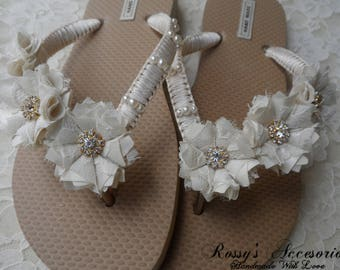 f4bacf2f4 Ivory Bridal Flip-Flops   Wedding Gold Flip Flops   Bridal Shower Flip Flops   Pearl Rhinestones Flip Flops  Beach Wedding Shoes   Bride Gift