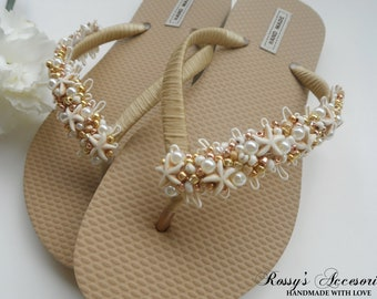 0ec73286f Natural Starfish Gold Flip Flops.  Beach Wedding Flip Flops  Glass Pearls Flip  Flops   Wedding Party   Bride Gift   Bridal Shower