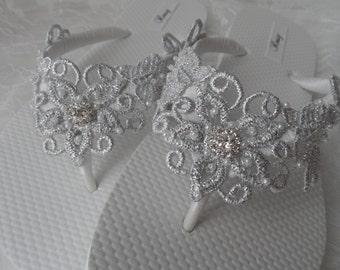 622d83172 Silver Venice Lace Flip Flops   Bridal White Flip flops   Bridal Venice  Lace Sandals   Wedding Flip Flops   Bridesmaids Shoes .