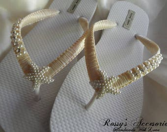 c6c9c2cdc63a Ivory Wedding Flip Flops   Silver Pearls Starfish Flip Flops   Macrame Beach  Flip Flops   Bride Gift   Wedding Party   Beach Wedding Shoes
