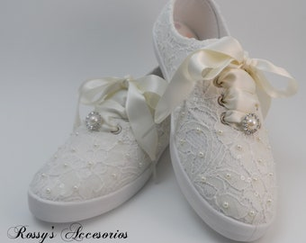 92d78ed96b89 Wedding Sneakers for Bride  Ivory Pearls Tennis Shoes   Ivory Sequin Lace  Sneakers  Wedding Sneakers  Destination Wedding  Gift for Bride