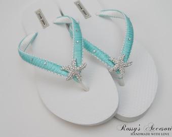 361e6608a Aqua Blue   White Wedding Flip Flops   Starfish Rhinestone Flip Flops    Bridal Macrame Flip Flops   Bride Gift Beach Wedding Flip Flops.