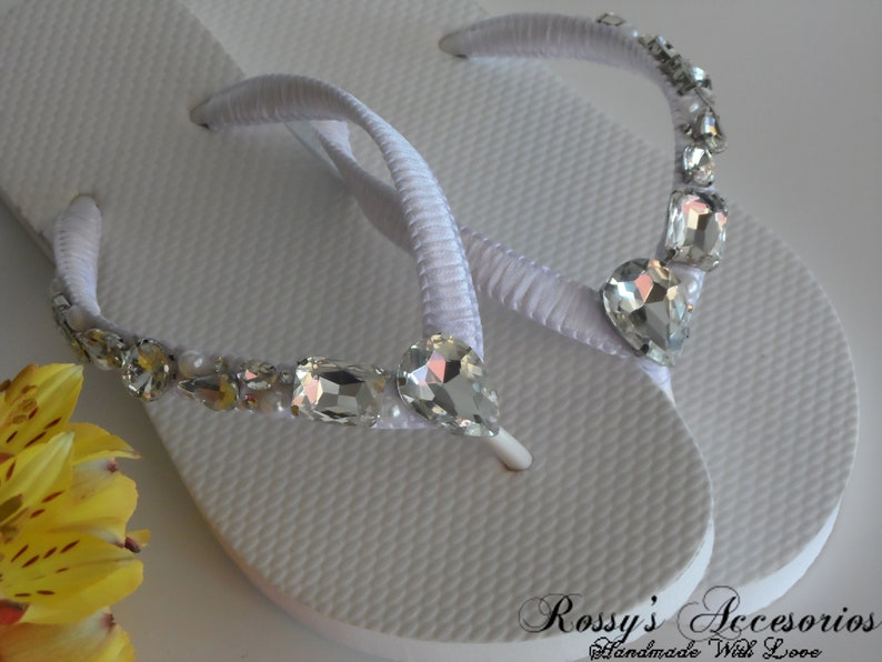 d1dd9404b51d White Rhinestone Wedding Flip Flops   Beach Wedding Flip Flops