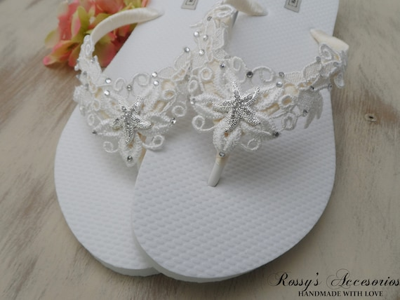 adb3637218f4e5 ... Party Flops Beach Ivory Lace Wedding Gift Flip Beach Flops Flip Wedding  Bridesmaids Gift Flops Bride