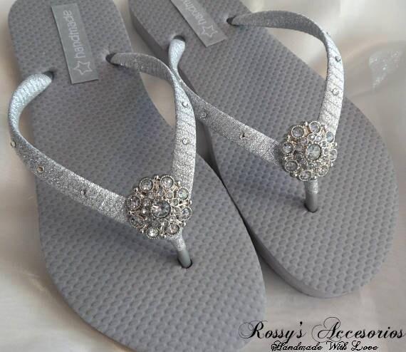 e4ce9e597564e Silver Wedding Party Flip Flops   Bridal Shower flip flops