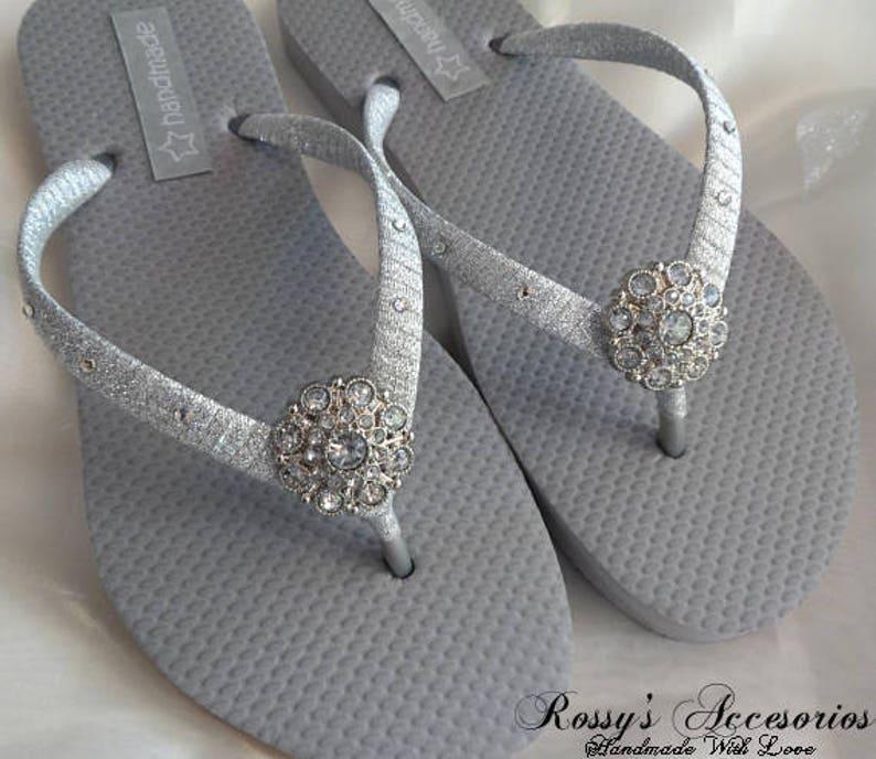 727a4fcf7 Silver Wedding Party Flip Flops   Bridal Shower flip flops