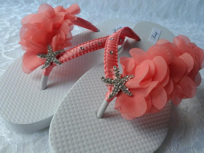 be1483e8e9cbbf Coral Bridal Flip Flops   Beach Wedding Flip Flops