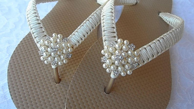 82672f68c7ab Ivory Macrame Flip Flops   Wedding Gold Flip Flops   Bridal
