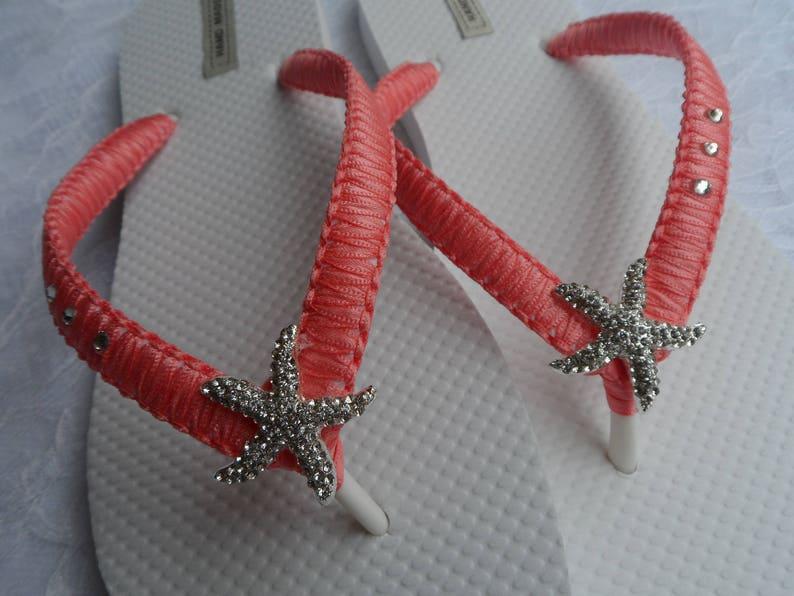 6e203e23ba69 Coral Macrame Flip Flops   Bridal Starfish Rhinestone
