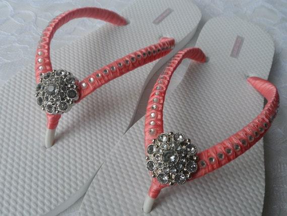 Coral Bridal Flip-Flops  Wedding Colors Flip Flops -4401