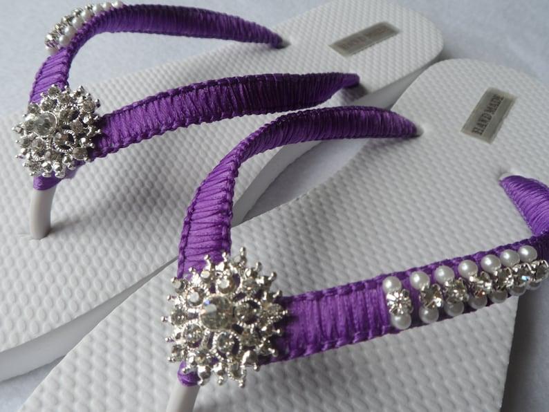 e3e62ac7cbc2a Purple Wedding Flip Flops   Bridal Pearls Sandals   Purple