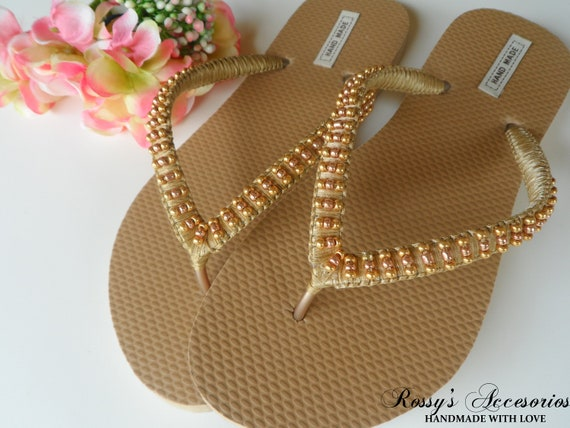 53d85c696d392 Summer Gold Flip Flops   Weddings Sandals Glass Pearls   Bridal Shower    Beach Wedding Shoes   Wedding Party   Bride Gift