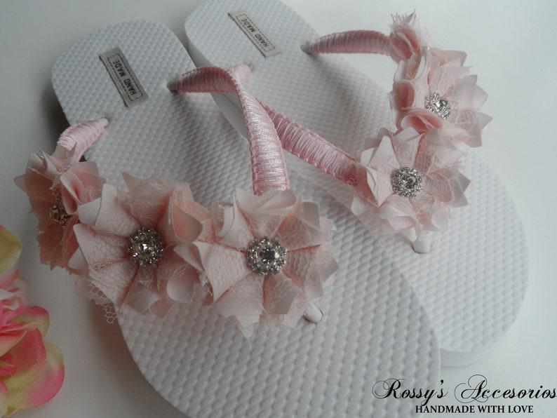 c4188ecd8f0ca Bridal Light Pink Flip Flops / Shabby Flowers Flip Flops / Bridal Sandals /  Wedding Shoes / Bridesmaids Shoes / Party Wedding Flip Flops.