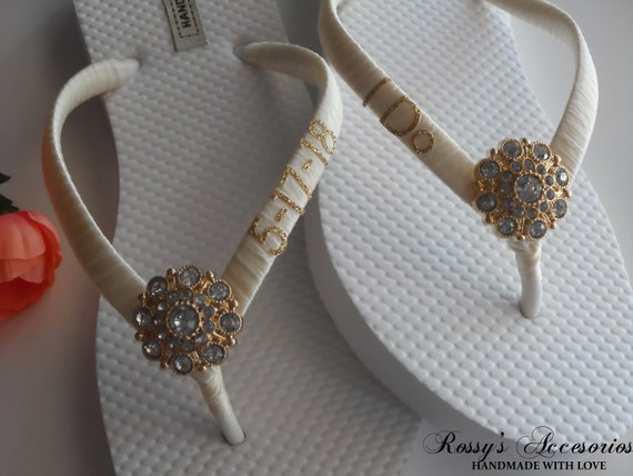 Wedding Gift Shoes Ivory I Bride Wedding Wedding Sandal Shoes Party Flops DO Shower Flip Beach Bridal Bridal 77ZU0w