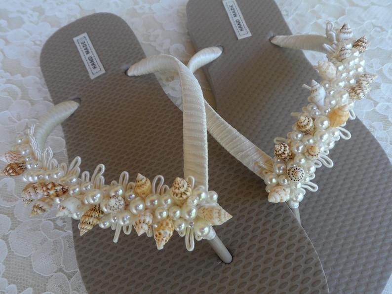 d93d06098d1b05 Sand Color Flip Flops   Ivory Shell Bridal Flip Flops   Beach