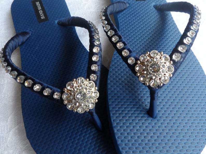 d96dcc85b Navy Blue Bridal Flip-Flops   Wedding Colors Flip Flops