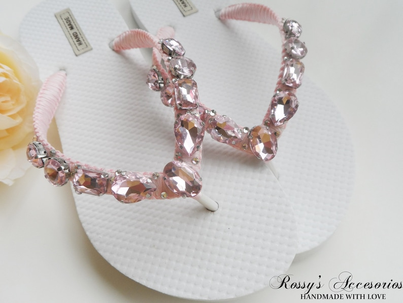 f2572988c904cf Light Pink Rhinestone Wedding Flip Flops   Beach Wedding Flip
