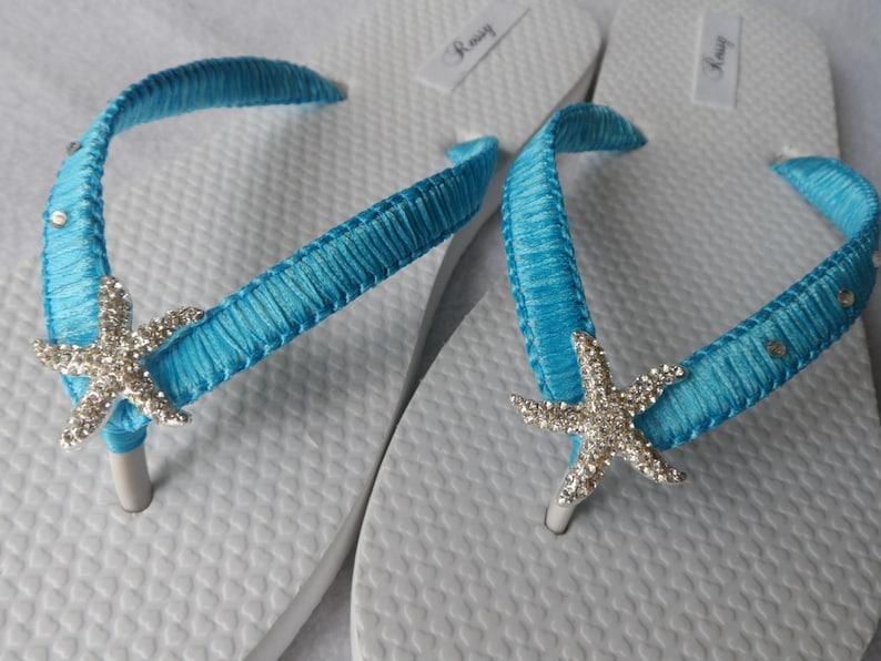 ee4ad8b89b08 Turquoise Macrame Flip Flops   Bridal Starfish Rinestone