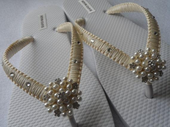 Flip Beach Bridesmaids Flip Bridal Crystals With Flip Swarovski Ivory Wedding Flops Flops Flops d5wqxd7A