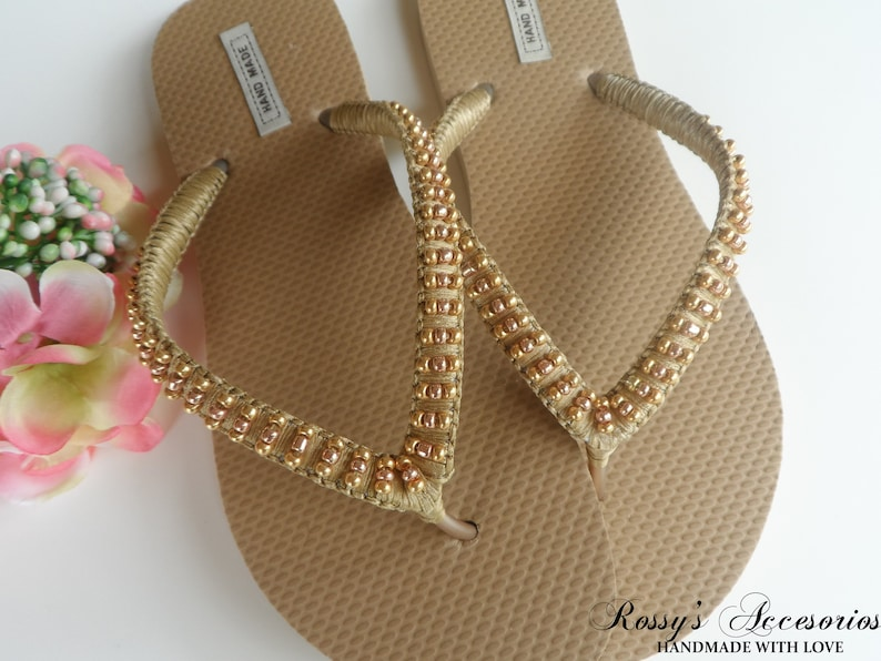 d15dee188fb777 Summer Gold Flip Flops   Weddings Sandals Glass Pearls   Bridal Shower    Beach Wedding Shoes   Wedding Party   Bride Gift