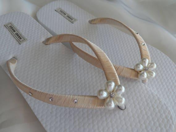 Flops Bride flip chaussures Champagne de Flip de cadeau mariage mariage mari plage nacre sandales en tongs Bachelorette fleur flops pwgwq1x