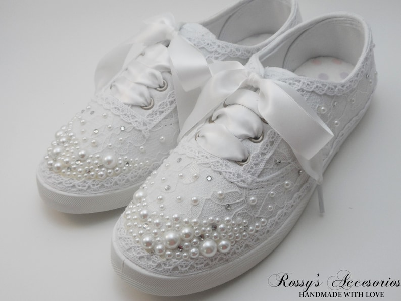 03e1e85a5427 Wedding Sneakers for Bride   Pearls and Rhinestones Tennis