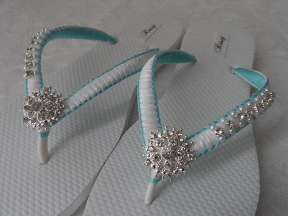 e619488f7 ... Pearls Rhinestone Bridesmaid Sandals Pearls and Flip Blue amp  White  Shoes Wedding White Flops Flip ...