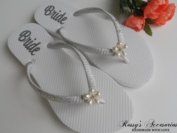 Shoes flops flip Beach Pearls Decal Flower for Wedding Bridal Shoes Shower Bride Bride Flip Wedding Flops Gift Personalized Decal 1vgvBxw