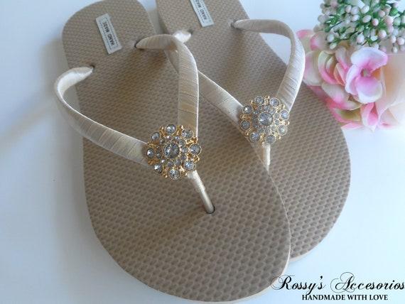 9c6cba71024e74 Gold Wedding Flip Flops Gold Rhinestone Flip Flops Beach Etsy
