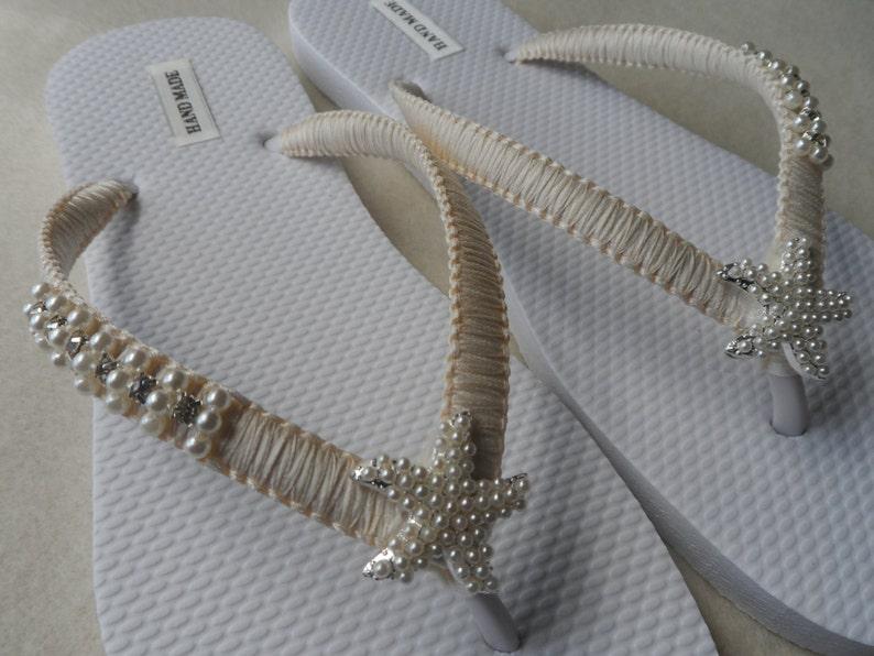 f93cf33ae Ivory Wedding Flip Flops   Silver Pearls Starfish Flip Flops
