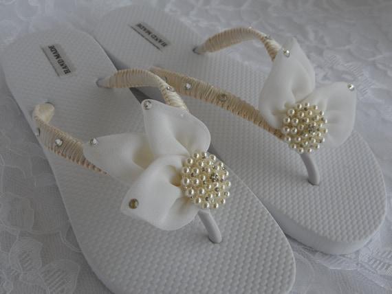 Flops Ivoire Flip mari mariage mousseline soie de tongs feuille 1wav10Sx