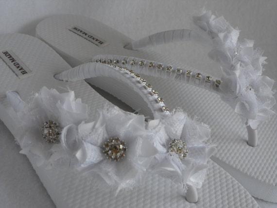 Flops Flip Pearl Flip Bridesmaids Flip Flops Sandals Bridal White Flip White Flowers Bridal Flops shoes Flops Rhinestones Wedding qHwf8Yx