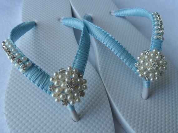 a53a1fcfe3d10 COLORS Wedding Flip Flops   Bridal Pearls Sandals   Light Blue
