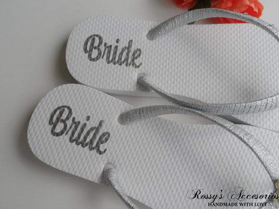 Gift Flip Beach flip Bridal Shoes Personalized Flower Bride Wedding Wedding Decal flops Pearls Shower Decal Shoes Flops Bride for 8cqH7wFE