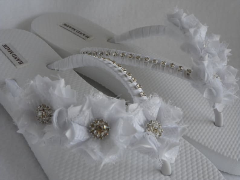 f45efd2fd3ce72 White Bridal Flip-Flops   Wedding White Flip Flops   Flowers