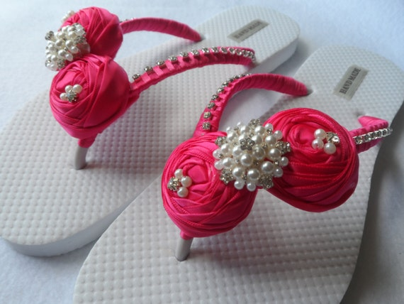 Flip Rolled Rhinestone Fuchsia Sandals Color Bridal Pearls Flip Flops Flops Flops Flip Bridesmaid Bridal Shoes Flowers Tw1xaEHxq