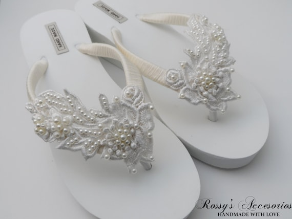c8d5ce570da21 Ivory Venice Lace Wedge Flip Flops /Bridal White Flip flops / Bridal Shower  Flip Flops /Bride Gift /Beach wedding Party /Destination Wedding