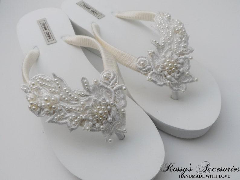 f103445f3f04fd Ivory Venice Lace Wedge Flip Flops  Bridal White Flip flops