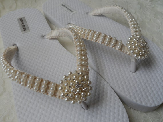 70b6e6412 Ivory Pearls Flip Flops   Wedding Sandals Pearls Rhineston